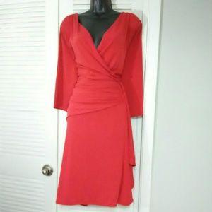 Lane Bryant plus size 18/20 red faux wrap dress